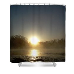 Shower Curtain featuring the photograph Foggy Mississippi River Sunrise by Kent Lorentzen