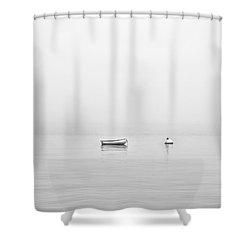 Foggy Mooring Shower Curtain by Richard Bean