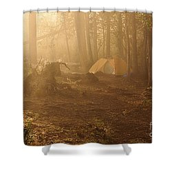 Shower Curtain featuring the photograph Foggy Morning At The Campsite by Larry Ricker