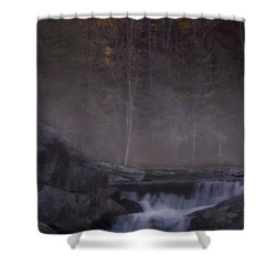 Shower Curtain featuring the photograph Foggy Morning At Linville Falls by Ellen Heaverlo