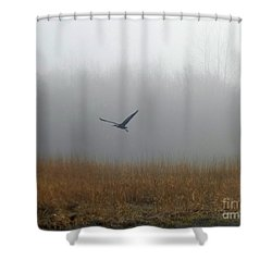 Foggy Morning Heron In Flight Shower Curtain by Helen Campbell
