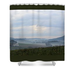 Foggy Morning In The Valley Shower Curtain by Liz Allyn