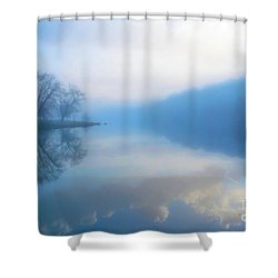 Shower Curtain featuring the photograph Foggy Morning Lake Sunrise II by Randy Steele