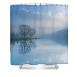 Shower Curtain featuring the photograph Foggy Morning Lake Sunrise by Randy Steele