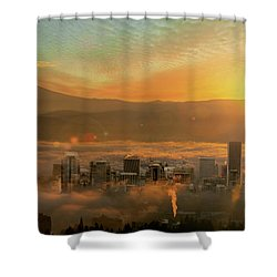 Foggy Morning Over Portland Cityscape During Sunrise Shower Curtain by David Gn