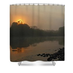 Shower Curtain featuring the photograph Foggy Morning Red River Of The North by Steve Augustin