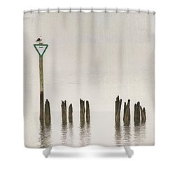 Shower Curtain featuring the photograph Foggy Morning Texture Keyport Harbor by Gary Slawsky
