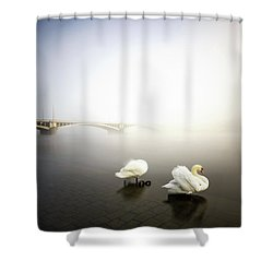 Foggy Morning View Near Bridge With Two Swans At Vltava River, Prague, Czech Republic Shower Curtain