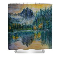 Foggy Mountain Lake Shower Curtain by David Frankel
