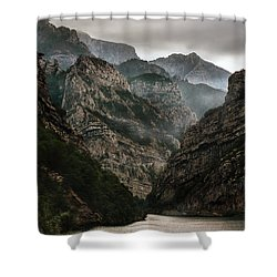Foggy Mountains Over Neretva Gorge Shower Curtain