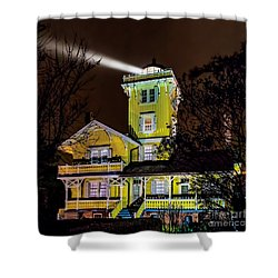 Shower Curtain featuring the photograph Foggy Night At Hereford by Nick Zelinsky