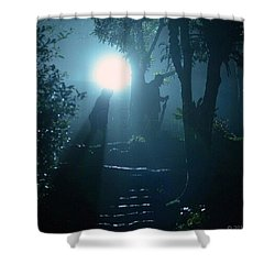 Foggy Night At The Old Railway Village Shower Curtain