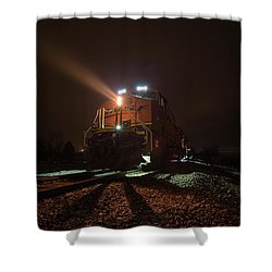 Shower Curtain featuring the photograph Foggy Night Train  by Aaron J Groen
