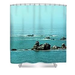 Sunny Blue Pacific Ocean Along The Oregon Coast Shower Curtain