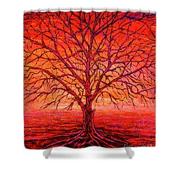 Foggy Red Shower Curtain