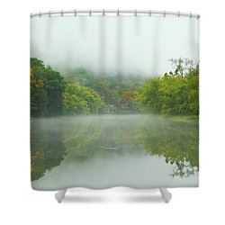 Foggy Reflections Shower Curtain by Karol Livote
