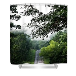 Shower Curtain featuring the photograph Foggy Road To Eternity  by Shelby Young