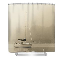 Shower Curtain featuring the photograph Foggy Sail by Joel Witmeyer