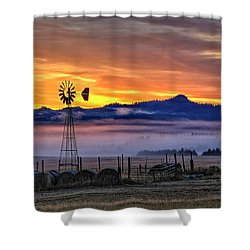 Foggy Spearfish Sunrise Shower Curtain