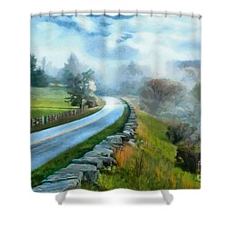 Foggy Spring Morning In Doughton Blue Ridge Parkway Ap Shower Curtain