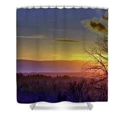Foggy Sunset Shower Curtain by Victor K