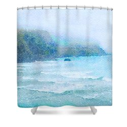 Shower Curtain featuring the painting Foggy Surf by Angela Treat Lyon