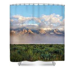 Foggy Teton Sunrise - Grand Tetons National Park Wyoming Shower Curtain