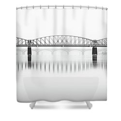 Foggy Winter Mood At Vltava River. Reflection Of Bridges In Water. Black And White Atmosphere, Prague, Czech Republic Shower Curtain