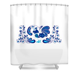 Folk Art Rooster In Blue Shower Curtain