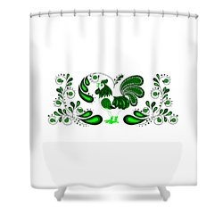 Folk Art Rooster In Green Shower Curtain