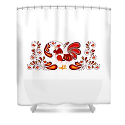 Folk Art Rooster In Red Shower Curtain