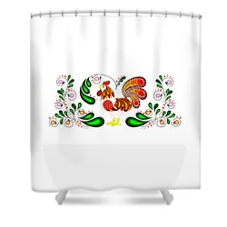 Folk Art Rooster Multi Color Shower Curtain