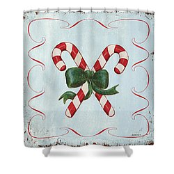 Folk Candy Cane Shower Curtain
