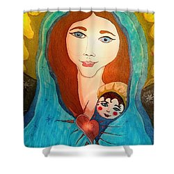 Folk Mother And Child Shower Curtain