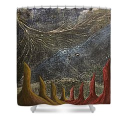 Shower Curtain featuring the mixed media Follow by Steve  Hester