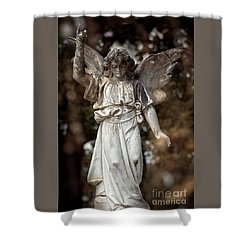 Follow The Heavenly Messenger - Christian Angel Art Shower Curtain by Ella Kaye Dickey