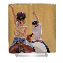 Follow The Leader - Horseback Riding Lesson Painting Shower Curtain by Patricia Barmatz