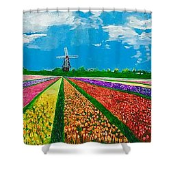 Follow The Rainbow Shower Curtain by Belinda Low