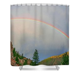 Follow The Rainbow To The Majestic Rockies Of Colorado.  Shower Curtain by Bijan Pirnia