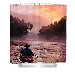 Following The Light Shower Curtain by Robert Charity