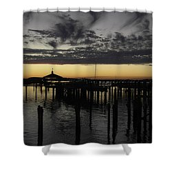 Folly Beach Dock Shower Curtain