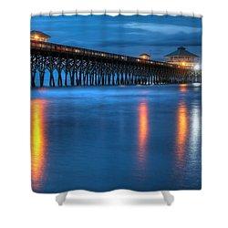 Folly Beach Pier At Blue Hour Charleston South Carolina Shower Curtain