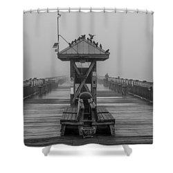 Folly Beach Pier Black And White  Shower Curtain