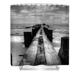 Folly Beach Pilings Charleston South Carolina In Black And White  Shower Curtain