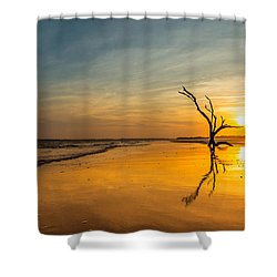 Folly Beach Skeleton Tree At Sunset - Folly Beach Sc Shower Curtain