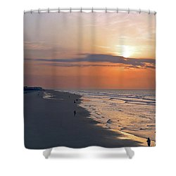 Folly Beach Sunrise Shower Curtain by Meta Gatschenberger