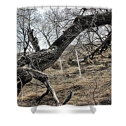 Fone Hill Cemetery  Shower Curtain by Ryan Crouse
