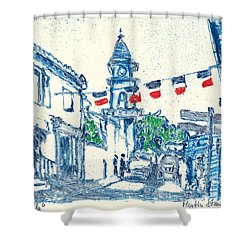 Shower Curtain featuring the painting Fontvieille Village Provence by Martin Stankewitz