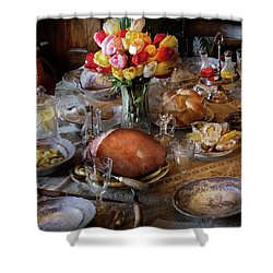 Food - Easter Dinner Shower Curtain by Mike Savad