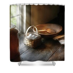 Food - Morning Eggs Shower Curtain by Mike Savad